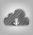 cloud technology sign pencil sketch vector image vector image