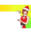 cute santa woman showing with space banner vector image