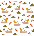 cute seamless pattern with bright birds and forest vector image vector image