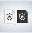 document icon with lock flat design vector image vector image