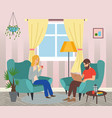 family couple sitting in armchairs man holding a vector image