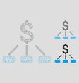 financial hierarchy mesh wire frame model vector image vector image