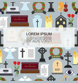 flat funeral colored icons seamless pattern vector image vector image