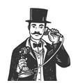 gentleman with phone engraving vector image vector image
