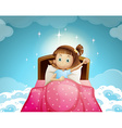 Girl sleeping in bed with sky background vector image