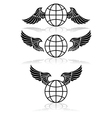 globe and wings vector image vector image