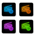 glowing neon radio with antenna and gear icon vector image vector image