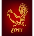 Golden rooster on red background Chinese calendar vector image vector image
