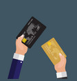 hand holding credit card financial and online vector image vector image