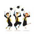 happy graduates or students throw hats education vector image