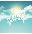 Heloo Summer brush lettering on the cloud vector image vector image