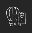 hot air balloon tourism chalk white icon on dark vector image