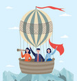 hot air balloon with passengers in basket flying vector image vector image