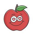 in love red apple cartoon apple vector image vector image