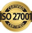 ISO 27001 certified golden label vector image