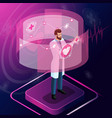 isometric surgeon looks at the tests vector image
