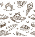italian cuisine sketch pattern background vector image vector image