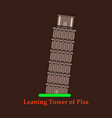 leaning tower of pisa graphical hand-painted vector image vector image