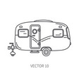 line icon retro tourism auto trailer vector image