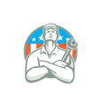 Mechanic Arms Crossed Wrench USA Flag Retro vector image vector image