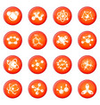 molecule icons set red vector image vector image