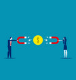 partner business with magnets fight for financial vector image vector image