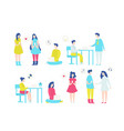 people with laptops flat set vector image