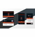 professional orange theme modern business card vector image vector image