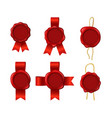 realistic 3d detailed red wax seals rope ribbons vector image vector image