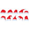 santa claus hat cartoon red hats xmas vector image