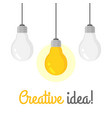set of hanging light bulbs with one glowing vector image
