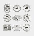 set premium fresh pork labels vector image vector image