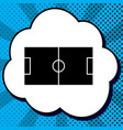 soccer field black icon in bubble on blue vector image vector image
