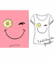 t-shirt of positive winks smiley vector image vector image