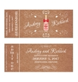 Ticket for Wedding Invitation with wedding bottle vector image