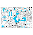 travel doodle set vector image