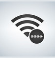 wifi connection signal icon with password stars vector image vector image