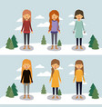 winter people with two scenes of women with vector image vector image