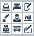 writer icons set vector image