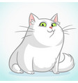 white fat cat with green cartoon vector image