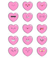 set of icons with different emotions heart vector image