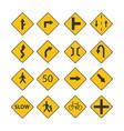 set traffic black signs vector image