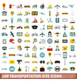 100 transportation site icons set flat style vector image vector image