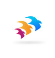3 flying birds together icon vector image