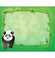 A big panda beside a bamboo frame vector image vector image