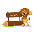 A lion standing beside a wooden signage vector image vector image