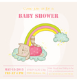 Baby Girl Cat Sleeping on a Rainbow - Baby Shower vector image vector image