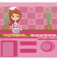 beautiful Housewife preparing the dough into vector image vector image