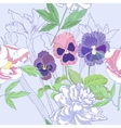 Blue seamless pattern with peonies and pansy vector image vector image