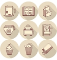 Breakfast beige round icons vector image vector image